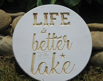 Life is Better at the Lake Routed Wood Disk 3D Wall Decor - Color Options DSK11