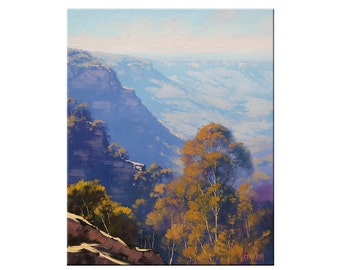 Blue Mountains Painting LANDSCAPE PAINTING Original Oil  by G.Gercken Award winning Artist