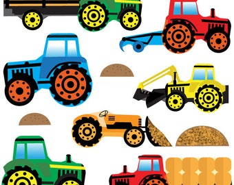 GET STICKING DÉCOR® Tractors & diggers wall stickers/ wall decals collection, trac.4. (Medium)