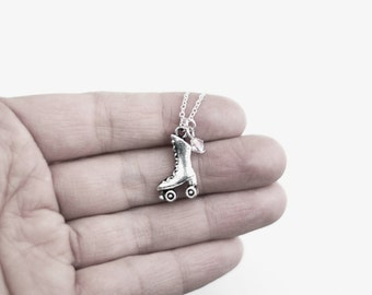 Roller Skate Necklace- Custom Birthstone Charm Jewelry- 80's Fashion - Sterling Silver or Silver Tone Chain