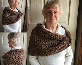Twisted Mobius Wrap Crochet Capelet Soft Brown Shoulder Wrap