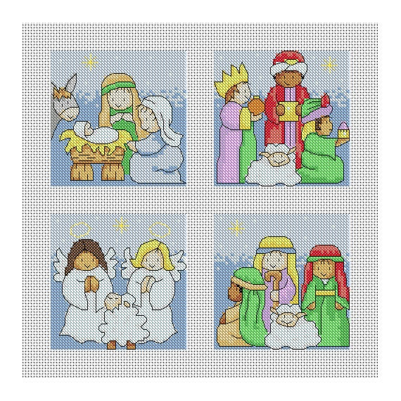 Nativity Christmas Cards / PDF Cross Stitch Pattern