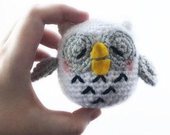 Snowy Owl Plush, Sleepy Owl, Owl Plush, Cute Owl, Bird, White Owl, Snow Owl, Gifts for Her, Gifts for Him, Kawaii Owl, Magical Owl, Crochet
