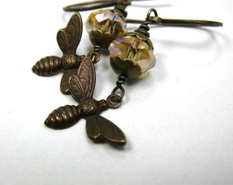 Bee Earrings - Antiqued Detailed Brass Bees, Faceted Golden Beads - Honey Bee
