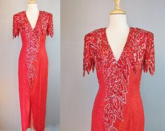 Red Dress / Vtg 80s / Hartly Westwood Spectacular Sequined Floor Length Red Dress