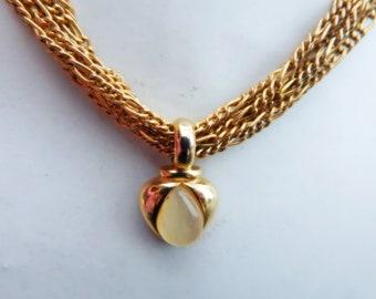 Vintage David Grau signed pendant necklace, vintage multi chain necklace, designer pendant necklace, vintage gold tone David Grau necklace