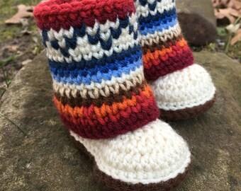 Mini Mukluk Booties/ Mukluk Baby Boots/ Crochet Pattern/ Infant Mukluks/ Mukluk Pattern/ Mukluk Baby Booties Crochet