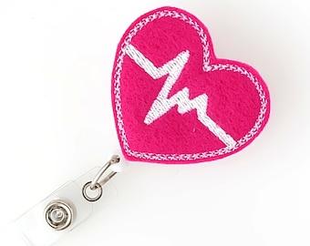 Fuchsia EKG Heart - Cardiac Nurse Badge Pull - Cute Name Badge Reel - Retractable ID Badge Holder - Felt Badge Reel - RN Badge - BadgeBlooms