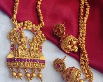 Temple jewelry , Golden matte finish necklace with earrings,Haram,Wedding jewelry,Gift for her,Jumka earrings,