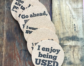 COS-101C provocative letterpress coasters set of six cork