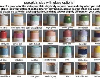 Info: glaze color palette for porcelain clay urns