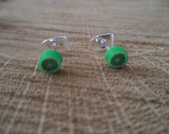 Silver earrings lime green polymer clay