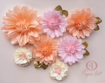 Paper flowers Light pink peach ivory Giant 19 and 14 inches fancy party decorations wedding backdrop Set of 7