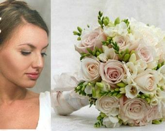 wedding flower, bride bouquet, bride hair accessory, roses bride bouquet, rustic bouquet, rustic style bride, fresia bride bouquet