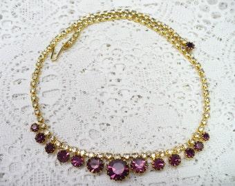 Vintage Purple and Clear RHINESTONE Necklace - gold tone - vintage WEDDING - Bridesmaid - Bridal - lavender/amethyst color - 16 inch - Gift