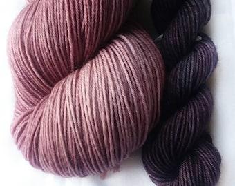 Hand dyed yarn, Elegance, 75/25 super wash merino wool/nylon yarn, sock yarn, purple yarn, purple mini skein set, knitting, crochet