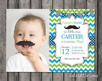 Mustache Bash Birthday Invitation, Boy First Birthday, Little Man, Blue and Green Digital Download