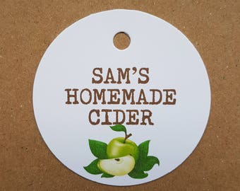 10x Personalised Homemade cider tags, handmade tags, bottle tags, vintage labels, gift tags, homemade cider tags, homemade brew, swing tags