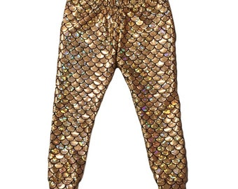 Gold Mermaid Leggings, Scale Leggings • (Baby mermaid leggings, toddler mermaid leggings, girls mermaid leggings, womens mermaid leggings)