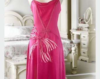Pink Lingerie Dress Altered Couture Anna Sui Spaghetti Straps Knee Length Wedding Guest Silk Sexy  Dress Fuschia Cocktail Gown Small Size