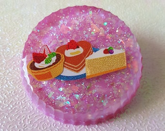 Round circle sweets brooch
