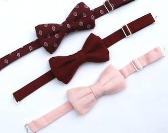 Boys Burgundy Bow Tie, Toddler Wine Bow Tie, Boys Blush Pink Bow Tie, Toddler Bow Tie, Ring Bearer Outfit, Page Boy Outfit, Baby Bowtie