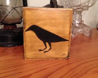 Primitive Crow Tissue Box
