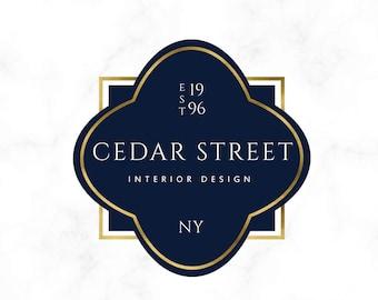 Premade Logo Design - Vintage Logo - Badge Logo - Quatrefoil Logo - Interior Design Logo - Designer Logo - Boutique Logo - Simple Logo