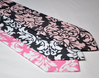 Boy's Tie - Pink and Gray Neckties - Damask Ties for Baby Toddler Boy or Teen