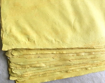 Keshula full sheets Indian Sunn Hemp yellow handmade paper, plant dyed 100 gsm artists paper 40 x 55 cm / 15.74 x 21.6 inches approx