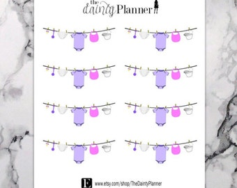 Planner Baby Pink Clothesline Laundry Stickers - Functional Stickers - Erin Condren, Kikki K, Emily Ley, Plum Paper, Inkwell, Limelife