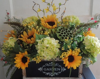 Sunflower and Hydrangea Garden Box floral Arrangement