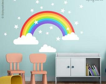 Rainbow Wall Decal, Rainbow Wall Sticker, Clouds Wall Decal, Stars Wall Decal, Rainbow Nursery Wall Decor, Kids Baby Room Wall Art Decor