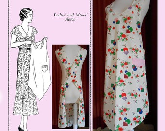 Instant Digital Download Vintage 1920's Apron Pattern, Vintage Flapper Era Full Size Reproduction Apron Sewing Pattern, Mail order #  910