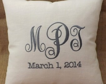 Monogram Linen pillow, embroidery, custom, personalized, embroidered, Mr. & Mrs., anniversary pillow, shower gift, bridal gift