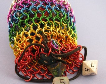 Rainbow Chainmaille Dice Bag - Choose Size