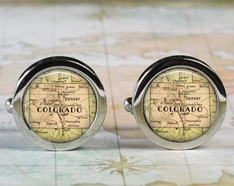 Colorado cuff links, Colorado cufflinks wedding anniversary gift for groom gift men's gift groomsmen gift for best man Father's Day gift