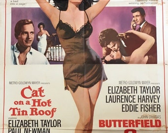 ORIGINAL ELIZABETH TAYLOR Double-Bill 1966 release of Cat on a Hot Tin Roof (1958) and Butterfield 8 (1960)
