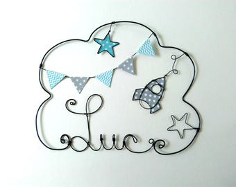 """Wire name, customizable cloud wall cloud for nursery, """"A rocket in the middle of the stars"""""""