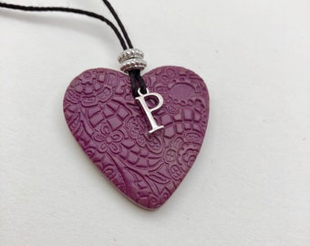 Purple Heart~Initial~Terracotta Heart~Glazed Front Pendant~Unglazed Back~Heart with Initial~Heart Pendant~Purple Pendant~Mince Lace Style