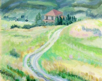 Original Custom Landscape Painting from your photo, oil painting on canvas, commission a painting, mountains, sea, house, vacation