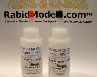 5-minute EPOXY GLUE - 2 x 2oz Kit.  Dries fast & strong, works on almost everything!