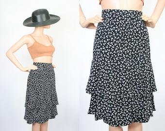 Vintage Silk Skirt / Ruffle Mermaid Hem / Shooting Star Graphic Print / Black and White / Midi Skirt / Small