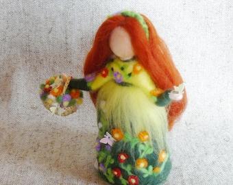 Summer fairy doll, Waldorf doll felt, Needle felted doll, Felted wool fairy, Standing doll