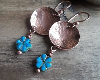 Flower and Copper Earrings - Hammered Copper Earrings - Blue Flower and Copper Earrings - Copper Disc Earrings - Boho Copper Earrings