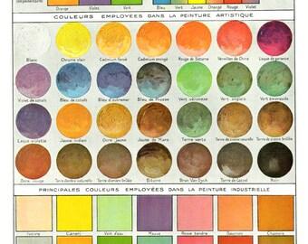 1936 Antique color chart Vintage paint chart tints pigment poster Painter gift for painter studio decor Artist gift for artist studio decor