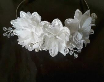 Bridal Flowers and lace Tiara Headband Headdress