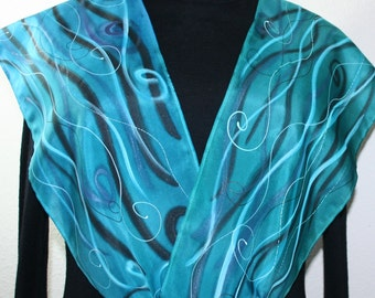 Silk Scarf Turquoise Teal Handpainted. Handmade Silk Stole OCEAN BREEZE in Several SIZES by Silk Scarves Colorado Birthday, Bridesmaid Gift.
