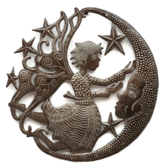Moon Angel, Haiti Recycled Metal Art, Quality Steel, Limited Edition Sculpture 23.5x23.5