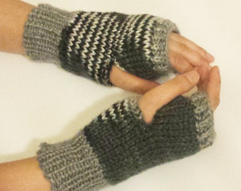 Knit Fingerless Mittens (Double Sided) - Black, Grey and White